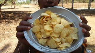 Cooking Crispy Potato Chips in My Village Farm - My Village Food