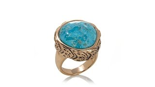 """Studio Barse Bronze Turquoise """"Chevron"""" Ring"""