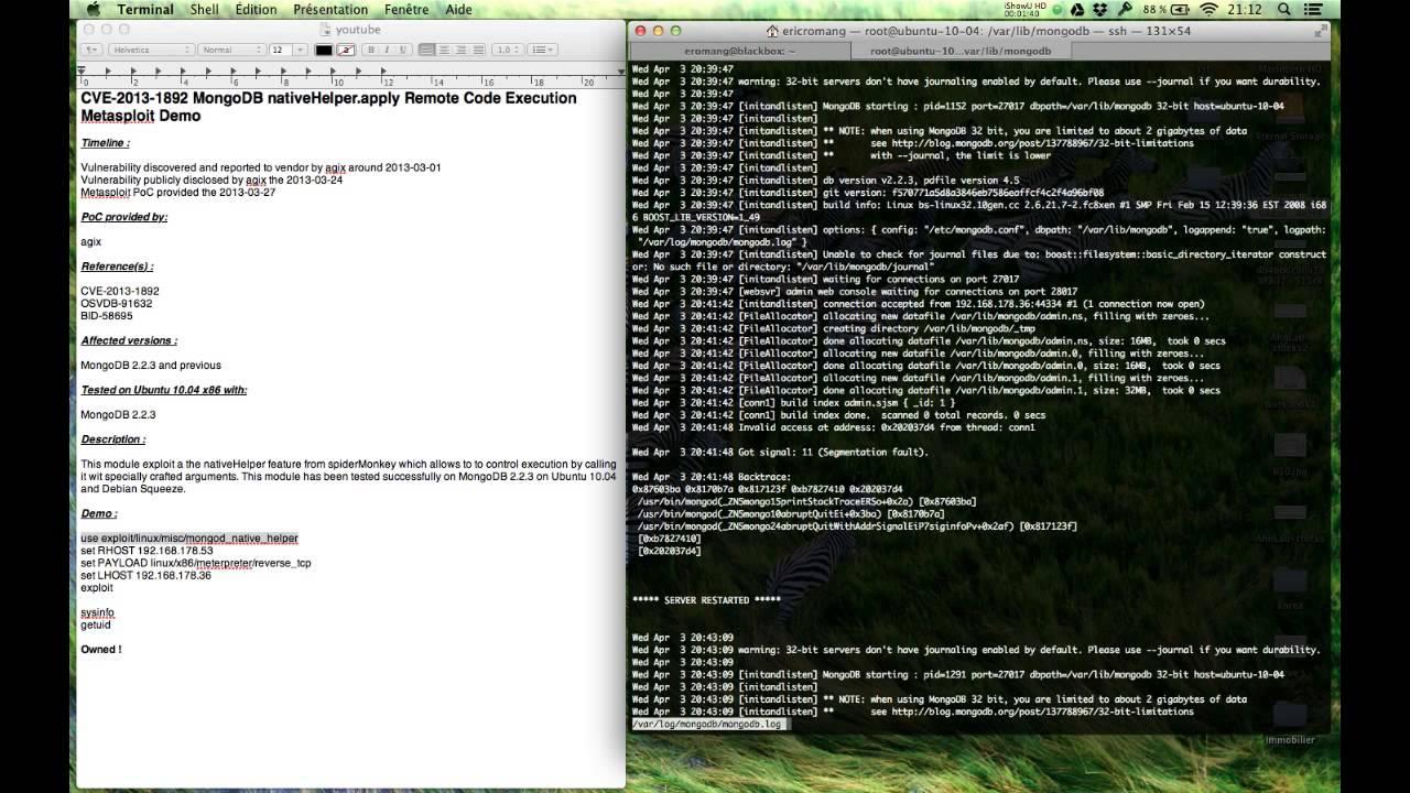CVE-2013-1892 MongoDB nativeHelper apply Remote Code Execution Metasploit  Demo