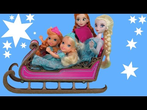 SLEIGHING! SNOW fun ! ELSA and ANNA toddlers play in SNOW