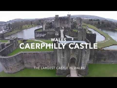 Medieval, Caerphilly Castle,  Largest in Wales. UAS aka Drone