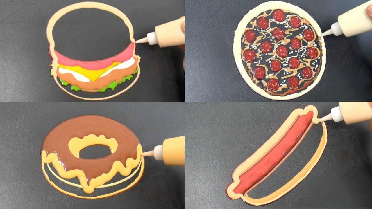 Download Fast Food Pancake Art - Burger, Pizza, Donut, Hot Dog