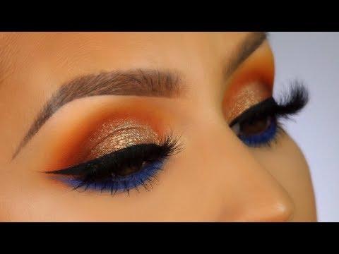 Pop of blue makeup tutorial l Huda beauty Topaz obsessions thumbnail