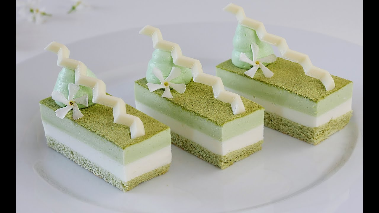 Муссовый торт из зеленого чая Матча и белого шоколада
