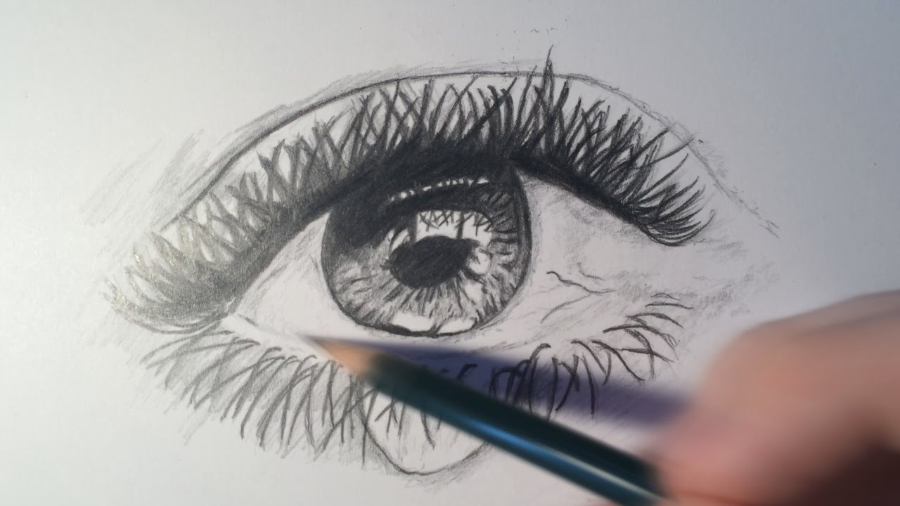 How to draw a realistic eye crying time lapse