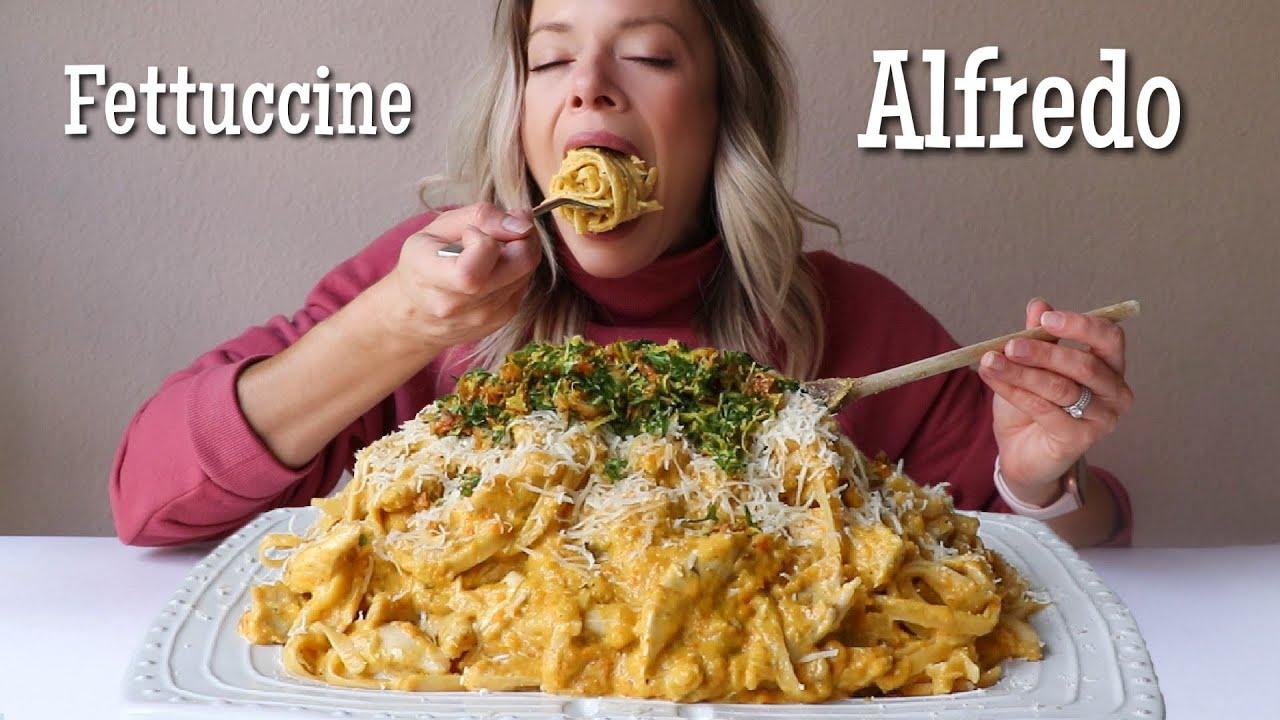 Roasted Fall Veg Fettuccine Alfredo MUKBANG w/ Roasted Chicken + Crispy Chicken Skin Gremolata!