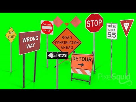 Green screen street signs