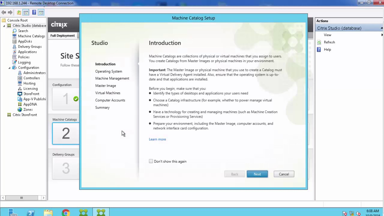 Citrix 7 11 Installed and Configured with Windows 10