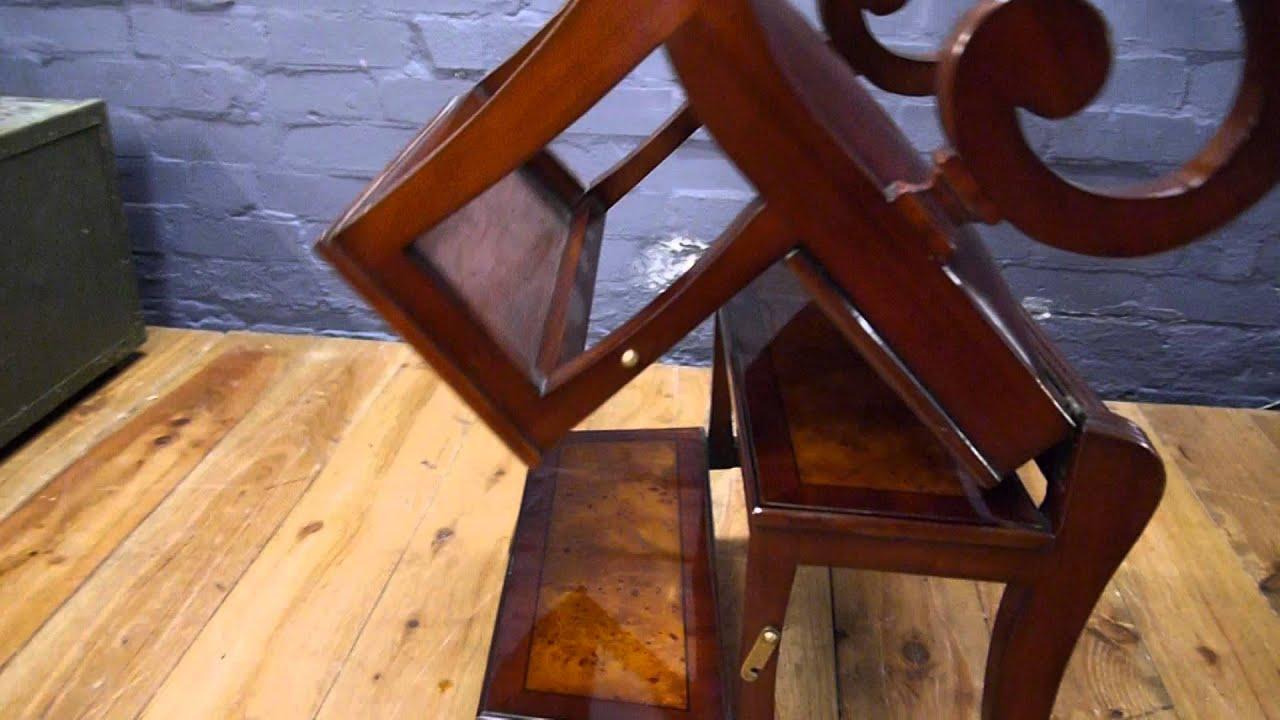 Mahogany U0026 Burr Walnut Library Step Ladder Chair