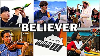 Download lagu Who Played it Better: Believer (Bird, Cat, Guitar, Sax, Violin, Indian Instruments)