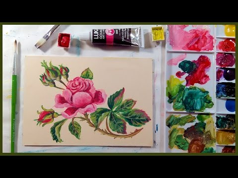 Vintage Rose in Gouache Beginner Tutorial