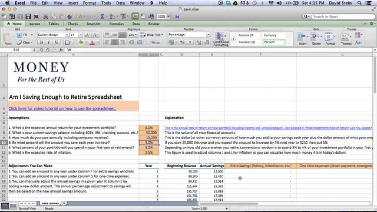 am i saving enough for retirement spreadsheet youtube