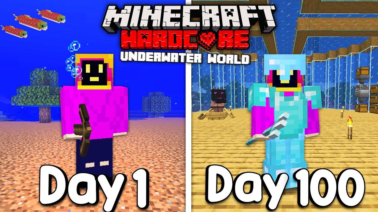 Download I Survived 100 Days Of Hardcore Minecraft, In An Underwater World...