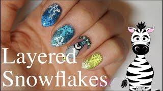 Layered Snowflakes Gel Nail Art Tutorial   Makartt Jelly Gel   MelodyMinutes