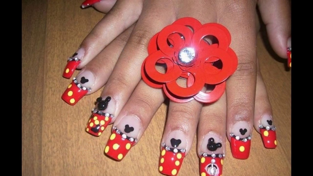 Mickey mouse uñas decoradas design sencillas y elegantes - YouTube