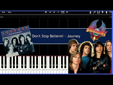 Don't Stop Believin' - Journey (Synthesia) [Tutorial] [Instrumental Video] [Download]