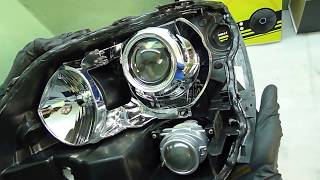 lexus RX300 светодиодные модули. Тюнинг фар установка би светодиодных модулей Optima в фары