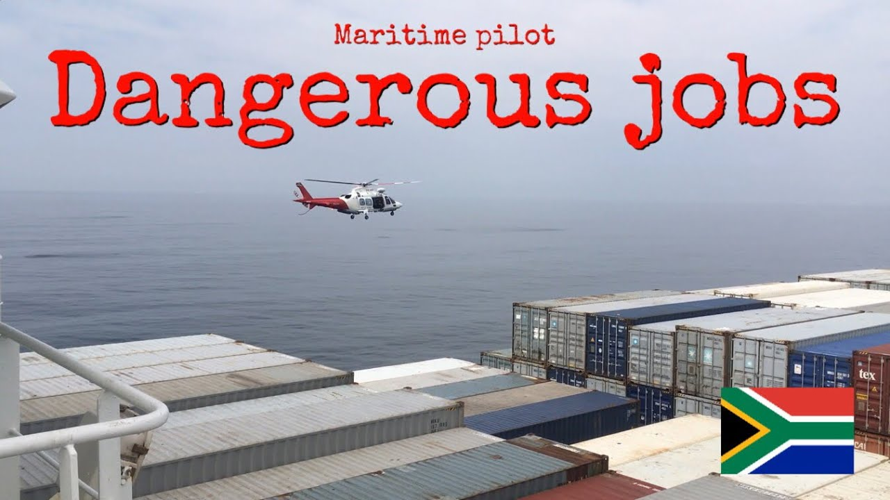 Dangerous Job: Helicopter delivers maritime pilots to containership ❤️🇿🇦✨
