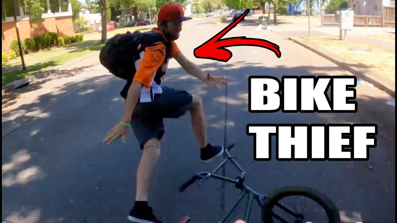 Bike Thief Vs. Electric Scooterer (Intense Chase Ensues) - WATCH!