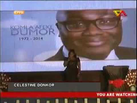 Celestine Donkor sings u raise me up for Komla Dumor
