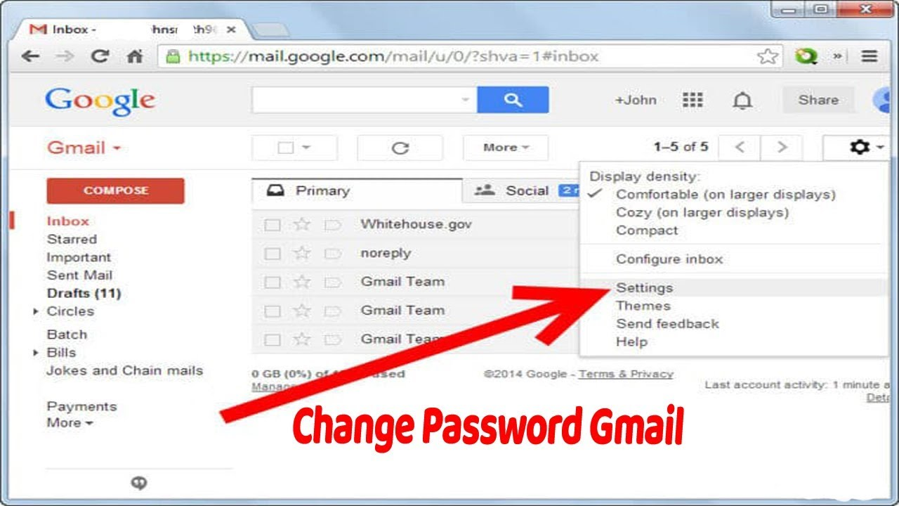 how to change password of gmail account