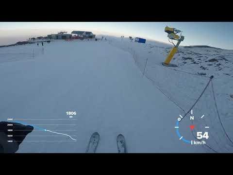 Скоростной спуск (105 км/ч) на горных лыжах. Шахдаг (Азербайджан) 2019.