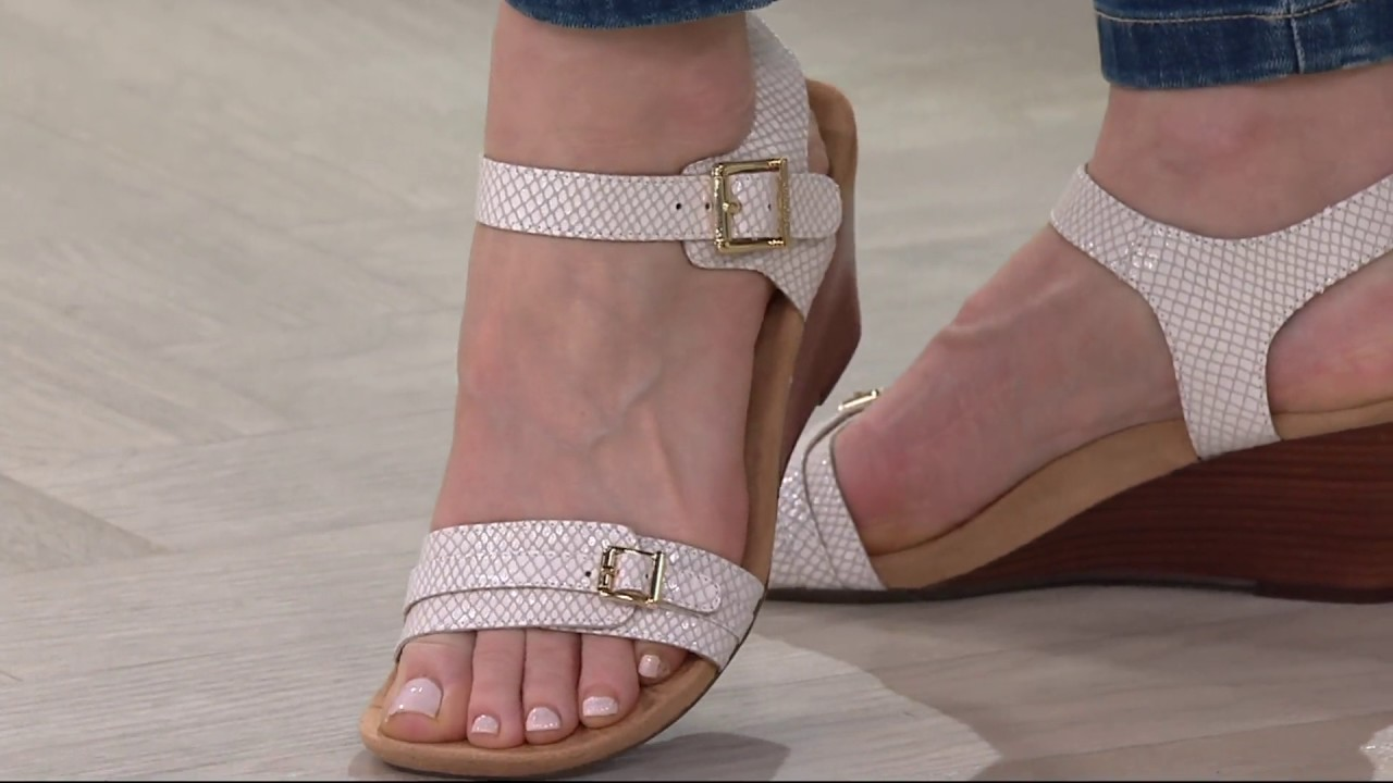 4027ea6c8ad Vionic Orthotic Leather or Haircalf Wedges - Laurie on QVC - YouTube