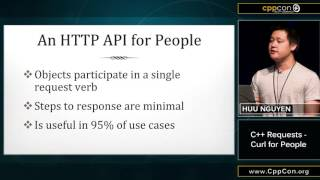 "CppCon 2015: Huu Nguyen ""C++ Requests - Curl for People"""