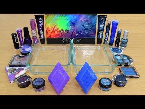 Purple vs Blue - Mixing Makeup Eyeshadow Into Slime Special Series 220 Satisfying Slime Video