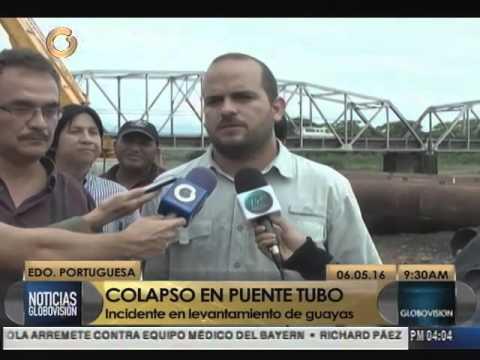 Colapsa una torre del puente colgante sobre el río Guanare
