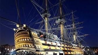 HMS Victory firing rolling broadside