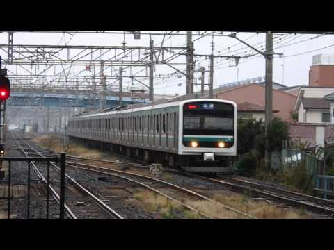 常磐線E501系 土浦駅到着 Joban line train driven by series E501, arriving at Tsuchiura station