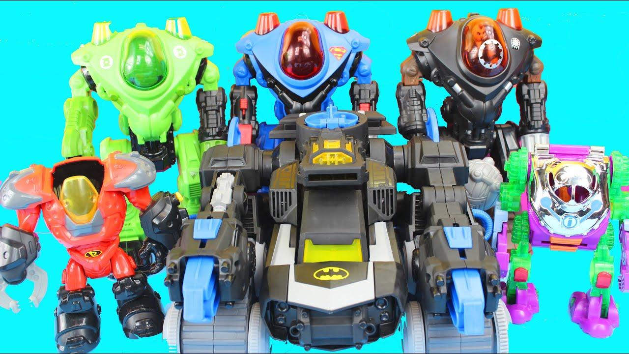 imaginext robot wars with batman robin green lantern superman joker luther dc