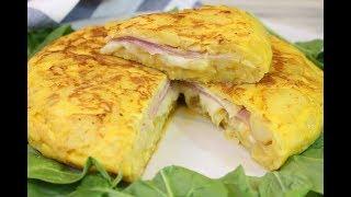 Tortilla de patata rellena de jamón y queso | Tortilla sandwich | Receta deliciosa