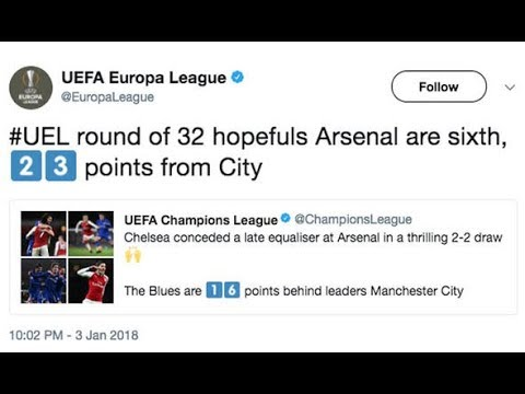 Chelsea and Arsenal TROLLED by UEFA following 2 2 Premier League draw