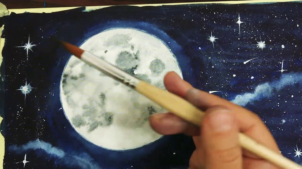 Suluboya Ay Ve Gece Resmi Demo Watercolor Demo Youtube