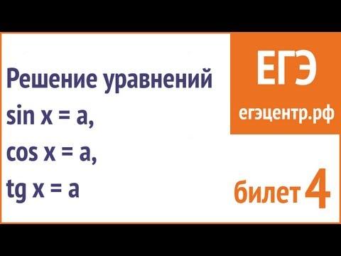Решение уравнений вида Sin X = A, Cos X = A, Tg X = A. Понятное объснение арксинуса и арккосинуса.
