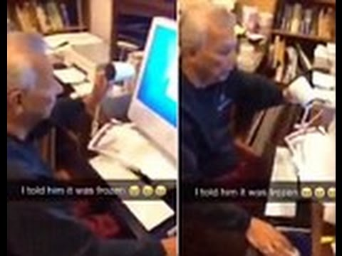 Grandfather heats up 'frozen' computer screen with hairdryer