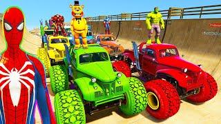 SPIDERMAN CARS Race Challenge on LAKE Rampa ! SUPERHERO HULK Goku McQueen Monster Truck Car  - GTA 5