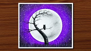 Easy Oil Pastel Drawing for Beginners - Owl Moonlight Scenery - Step by Step