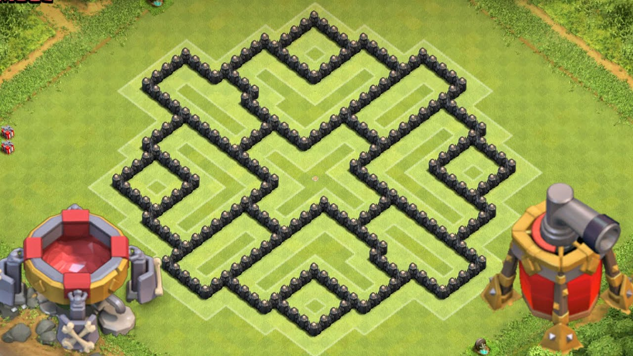 Clash of clans town hall 8 defense th8 hybrid base 2015 with dark