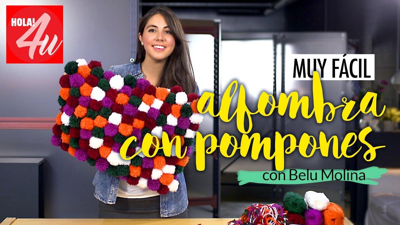 Muy f cil c mo hacer una alfombra con pompones de lana belu dec con belu molina youtube - Alfombra trapillo facil ...