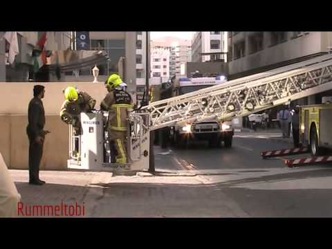 Dubai Civil Defence Drill - Command + tanker + ladder + engine & ambulance on scene (part 2)