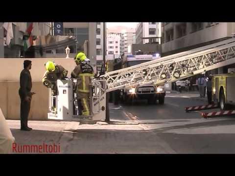 Dubai Civil Defence Drill - Command + tanker + ladder + engine & ambulance on scene (part 2)