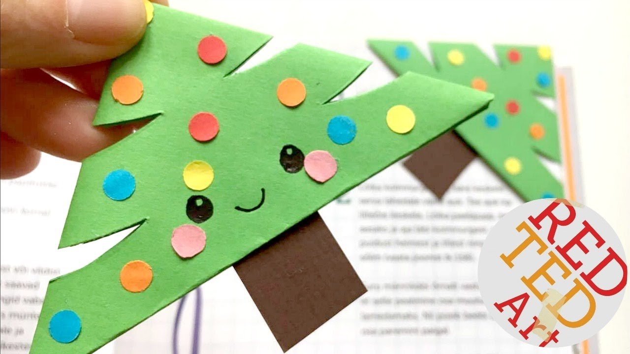 Christmas Tree Art.Easy Christmas Tree Bookmark Corner Paper Crafts Diy Easy Christmas Diys