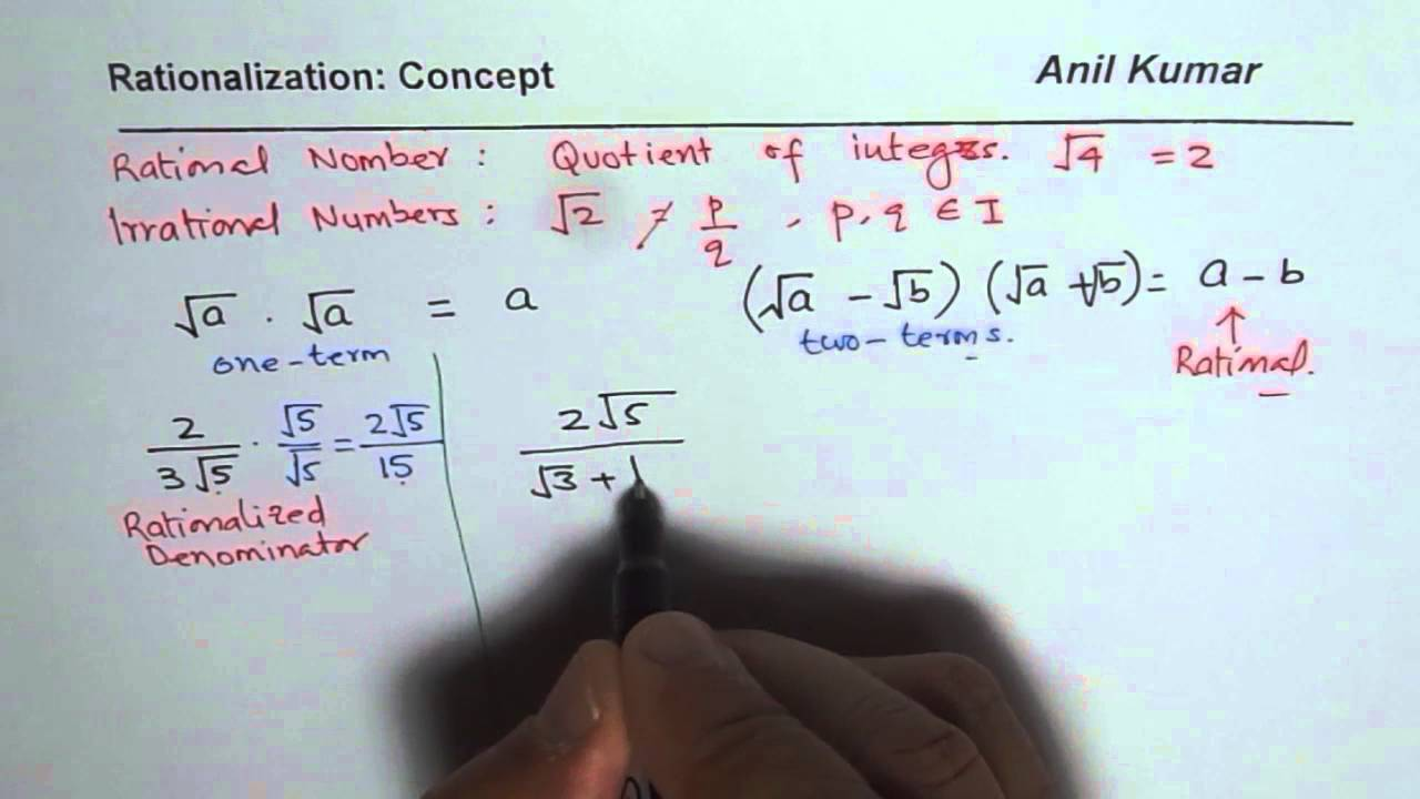 Understand Concept Of Rationalization With Examples Youtube