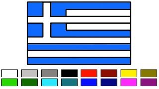 How To Draw Greece Flag for Kids || Drawing Greek flag Coloring || How to Draw the Greek flag Learn