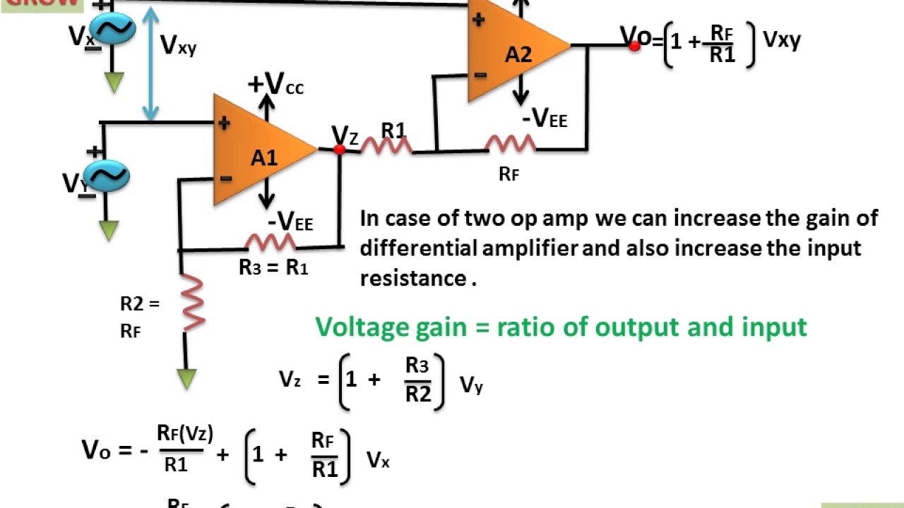 Differential Amplifier With Two Op Amp Learn And Grow Output Resistors In Parallel Opamps