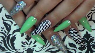 Green Holo Zebra Nails | Doin My Nails