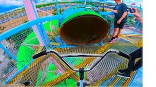 BMX RIDING DOWN ABANDONED WATERPARK TUNNEL!